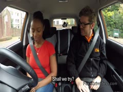 Big ass ebony fucks in driving school car