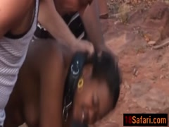 Kinky ebony slave banging hard outdoors