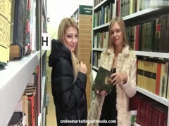 Two hot russian lesbians in the library