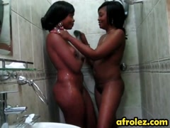African chicks showering together