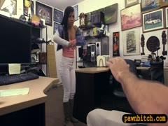 Ebony babe drilled by pervert pawn dude in his office