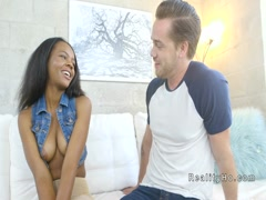 Sweet ebony teen gets big white dick