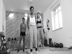 Lesbian ebony coach in threesome