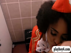 Long legged ebony stewardess fucked in public toilet