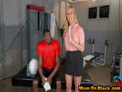 Blonde milf banged with black dicks