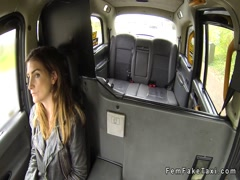 Robbed black guy gets blowjob in fake taxi