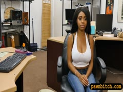 Busty ebony babe sucks off and drilled at the pawnshop
