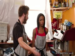 Ebony teen bartender bangs client