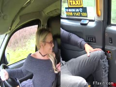 Big black dude bangs blonde cab driver