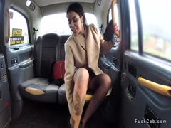 Tattooed ebony anal fucked in fake taxi