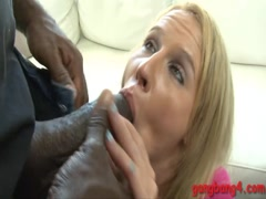 Sexy blonde bitch double penetrated by big black cocks