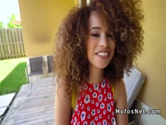 Ebony teen banged in quiet public corner