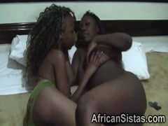 Insanely hot ebony chick enjoying intense tongue action