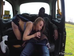 Petite cabbie fucks big black cock