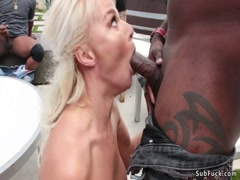 Blonde crawling from cock to cock