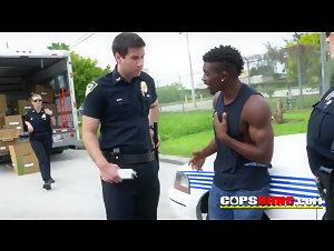 Tall black suspect unloaded in the truck