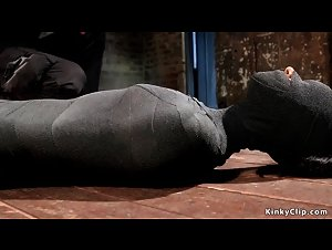 Ebony slut mummified and tormented