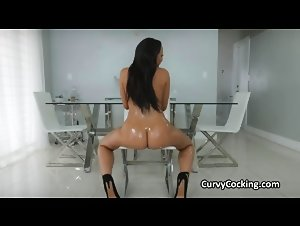 Oiled thicc ebony makes love to a big white dick