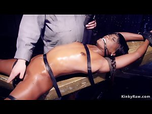 Ebony is made drool in device bondage