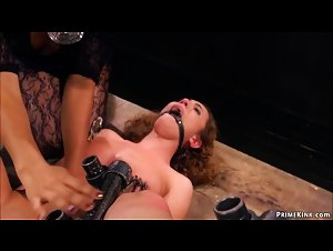 Slave in steel device licked by ebony